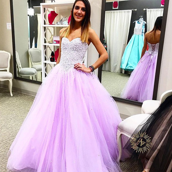 2017 Lilac Ball Gown Prom Dresses Sweetheart Corset Back