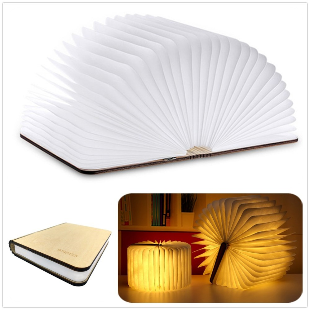 Unique Bluetooth Speaker LED Desk Light Foldable Book Lamp Design USB Rechargeable Wooden for Home & Outdoor 21.5x17X3CM icoco usb rechargeable led magnetic foldable wooden book lamp night light desk lamp for christmas gift home decor s m l size