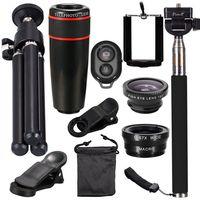 Mayitr 10In1 8X Zoom Universal Phone Camera Lens Travel Kit For Smartphone Telephoto Lens Fish Eye