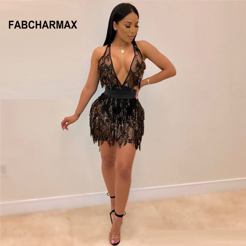 578cbc2c761d New fashion sexy mini dress bodycon bandage evening party club tassel black  dress women v neck sequin fringe chic dress clubwear-in Dresses from  Women's ...
