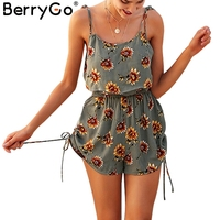 BerryGo Two Piece Floral Print Strappy Rompers Women Christmas Sexy Ruffles Playsuits High Waist 2018 Summer