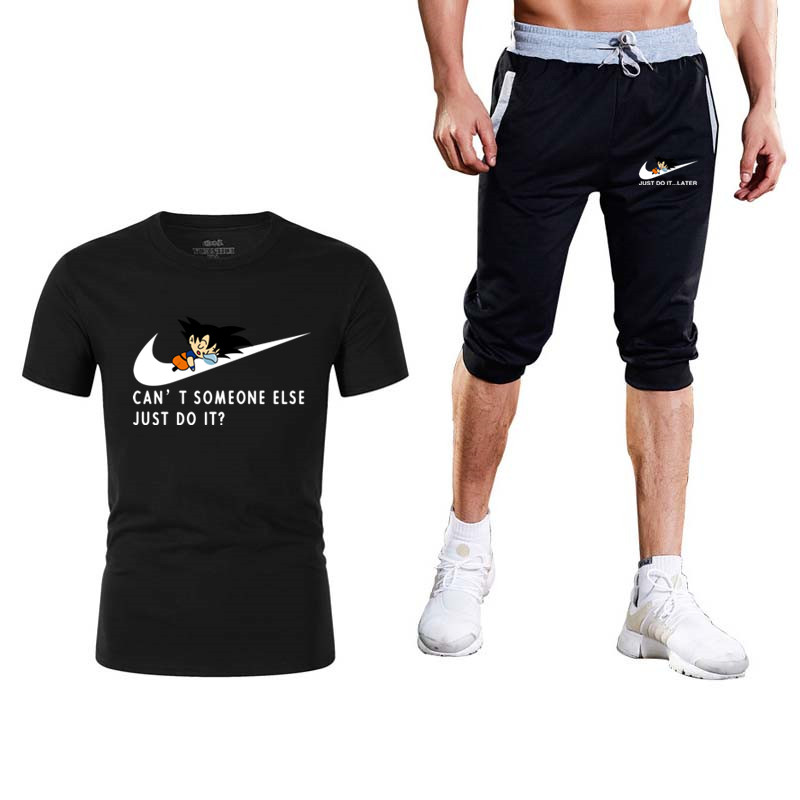 New 2019 Summer High Quality Sets Dragon Ball T-Shirt+Shorts Men Brand Clothing Two Piece Suit Tracksuit Fashion Casual Tshirts