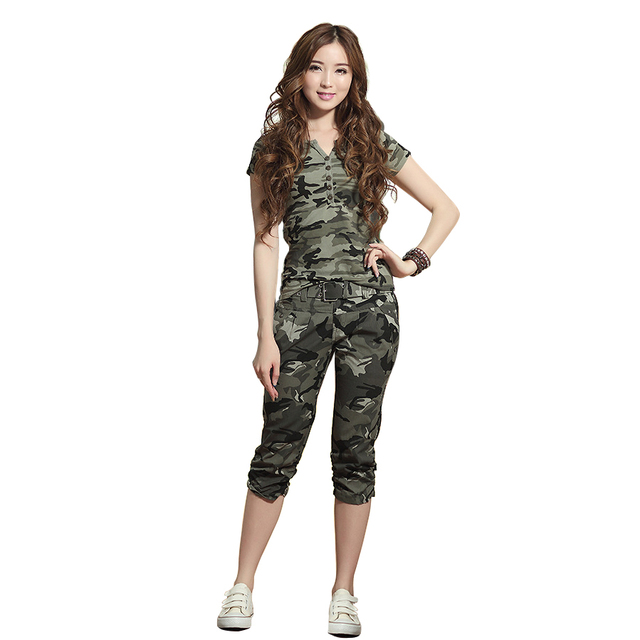 Women Suit Summer Tracksuit Camouflage Short Sleeve Sweatshirts Casual Clothing  2 Piece Set Tops+Short Sporting Suits Female