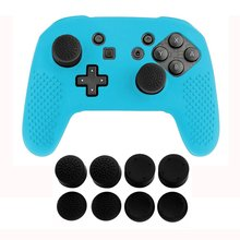 Nintend Switch Pro Silicone Skin Protective Case Guards Cover With 8pcs Stick Grips for Nintendo Controller