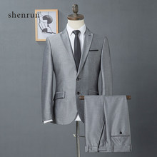 ShenRun 2019 coat pants designs light gray grey men suit Slim fit elegant tuxedos Wedding business party dress jacket+pants(China)