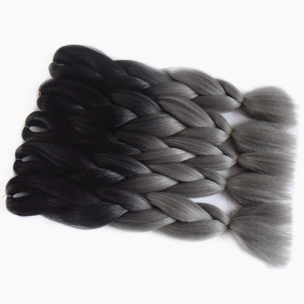 Feilimei 10 Pieces Ombre Braiding Hair Extensions Synthetic Jumbo Braids 100g/pc 24inch Black Ombre Grey Crochet Hair Bundles Jumbo Braids