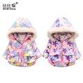 Бренд пуховик пион Дети зимние куртки для девочек цветочный печати толстые новорожденных Девочек Верхняя Одежда парка пальто Doudoune