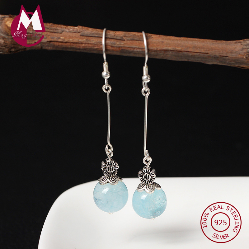 Natural Stone Aquamarine Drop Earrings 925 Sterling Silver Earrings For Women Long Tassel Female Jewelry Accessories Gift YE63