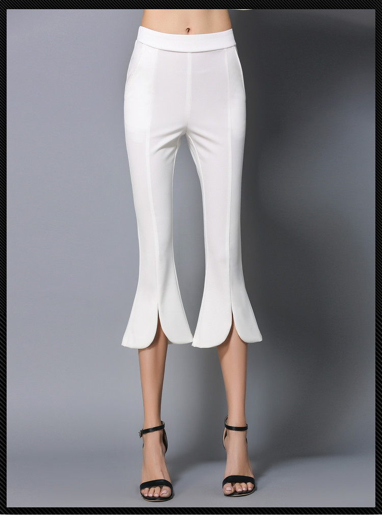 Slim Petals Flared   Pants   Trousers Women Elegant Office Work Calf-Length Elastic Waist Party   Pants     Capris