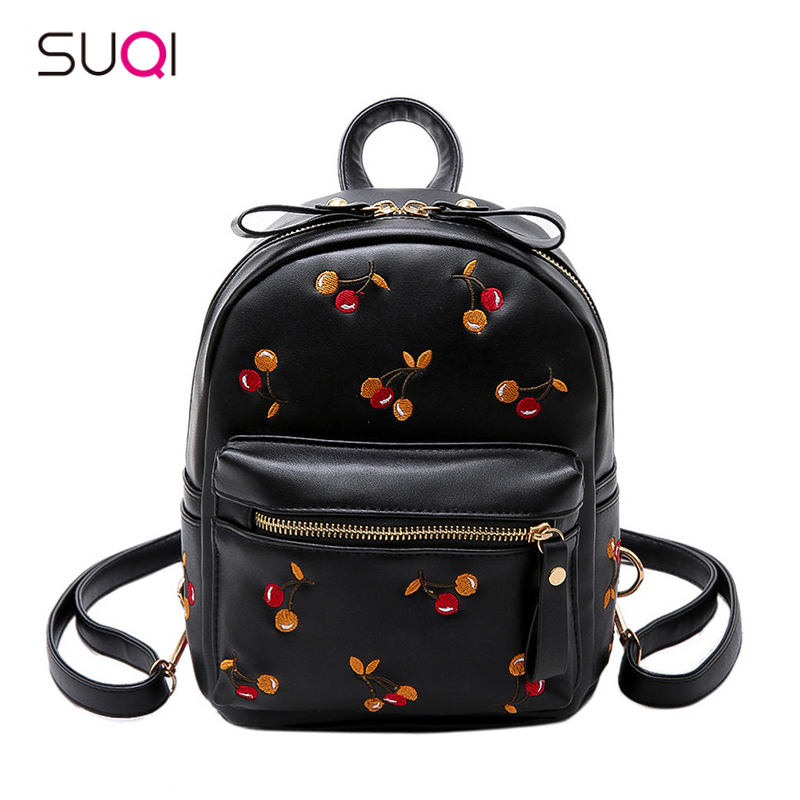 2018 New PU Leather Women Backpack Embroidered Cherry Casual Travel Bag Teenagers Girls Backpack Female Mochila Bagpack Pack 2015 new casual women backpack female pu leather women s backpacks bagpack bags travel bag back pack free shipping