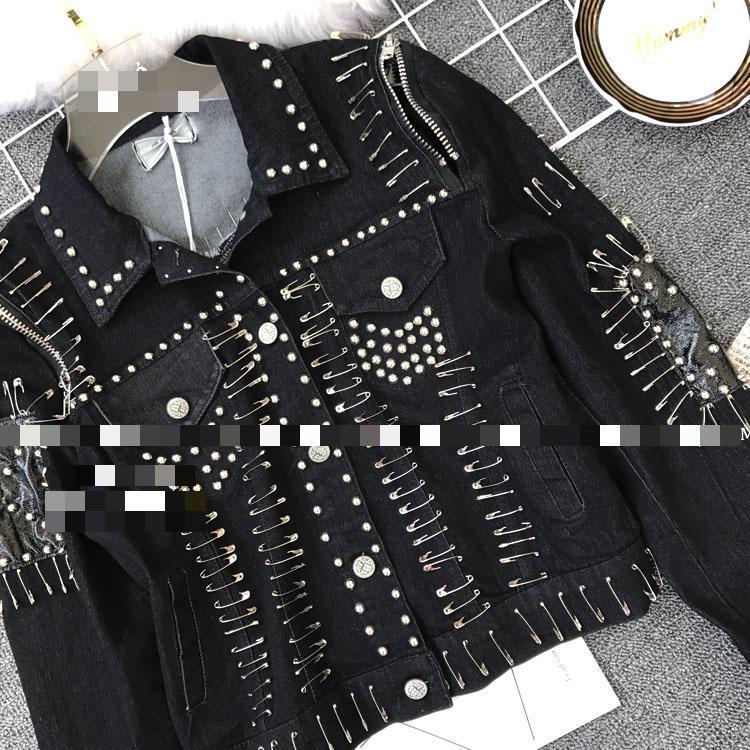 Tops Manteau Femmes Automne Rivet Black Manches blue Broches Longues Mode À Veste Denim Jeans Getsring RBTqAaw00
