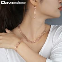 Davieslee сороконожка звено цепи набор украшений для женщин 585 розовое золото Цепочки и ожерелья браслеты сережки женские; Прямая 10/14 мм LCSM01