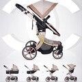 Использовать Купон! Европа детская коляска 2 в 1 высокая пейзаж трехмерная четыре круглые детские коляски тележки коляски золотой раме 9