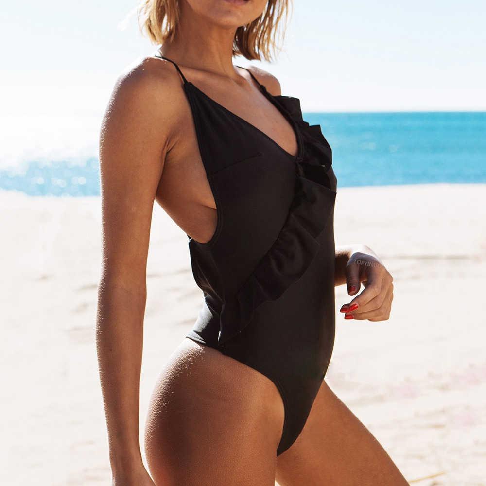 2018 Sexy czarny jednoczęściowy strój koronki wzburzyć strój kąpielowy stałe jednoczęściowy strój kąpielowy czerwony stroje kąpielowe kobiet kobiet kostiumy kąpielowe bez pleców