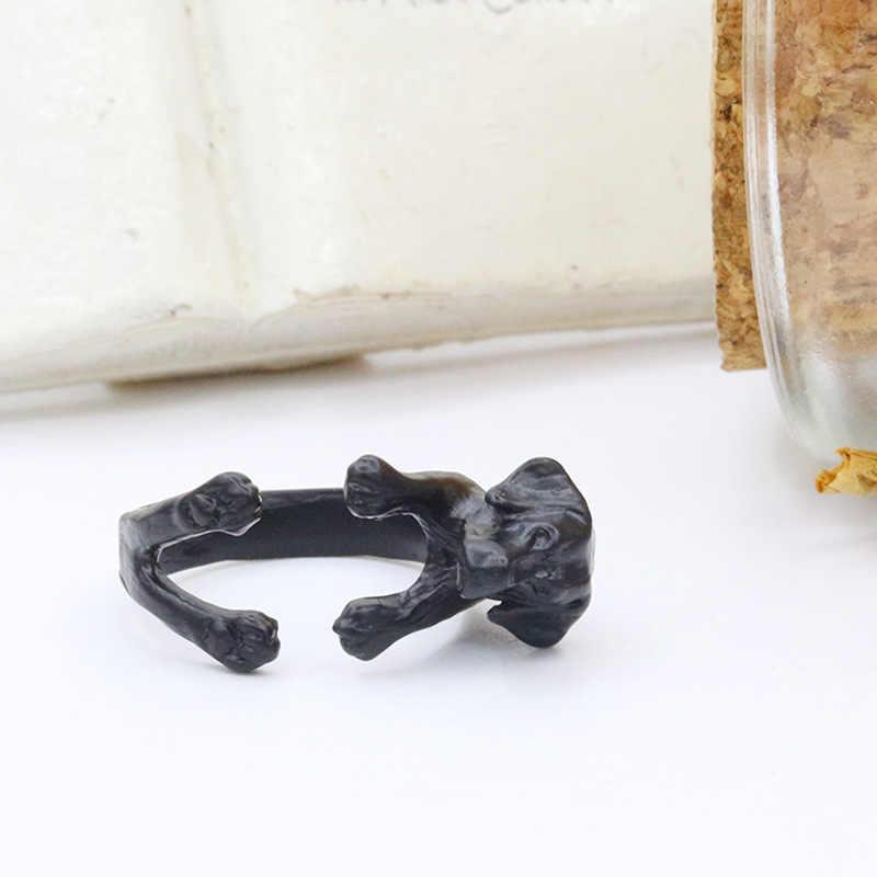 جرو الكلب خواتم للنساء الرجال الحيوان الاكسسوارات حلقة مفتوحة للتعديل العتيقة الذهب والفضة السوداء الأزياء فنجر مجوهرات