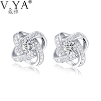 100 Real 925 Sterling Silver Earrings For Women Jewelry Cubic Zirconia Luxury Bling Bling Stud Earring