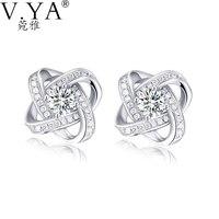 100 Real 925 Sterling Silver Earrings For Women Jewelry Cubic Zirconia Luxury Bling Bling Stud Earring