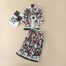 New arrival 2017 summer floral print shirt pleated skirt fashion woman's dress suit OL sets