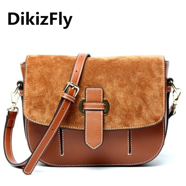 Dikizfly Brand Famous Designer Women Bag Genuine Leather Vintage Saddle Womne Messenger Bags Fashion Handbags
