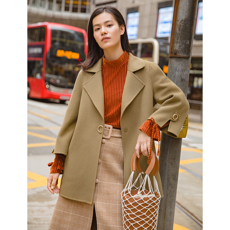 Инман осень средней длины с отложным воротником Двусторонняя повседневные Styl шерсть Для женщин пальто
