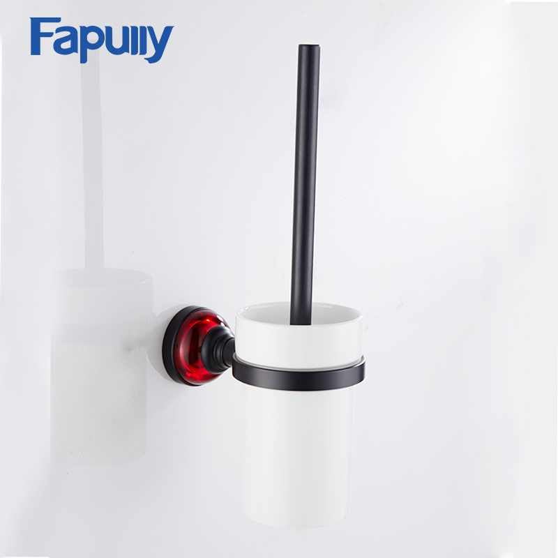Fapully Bathroom Toilet brush Red Crystal Toilet Brush Holder Black Plated Aluminum Bathroom Accessories все цены