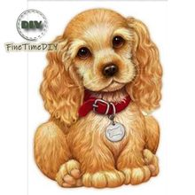 FineTime 5D DIY Diamond Embroidery Household Pet Dog Diamond Painting Cross-stitch Round Rhinestone Mosaic Decoration finetime full round 5d diy diamond painting color dog diamond embroidery cross stitch animal gift decoration