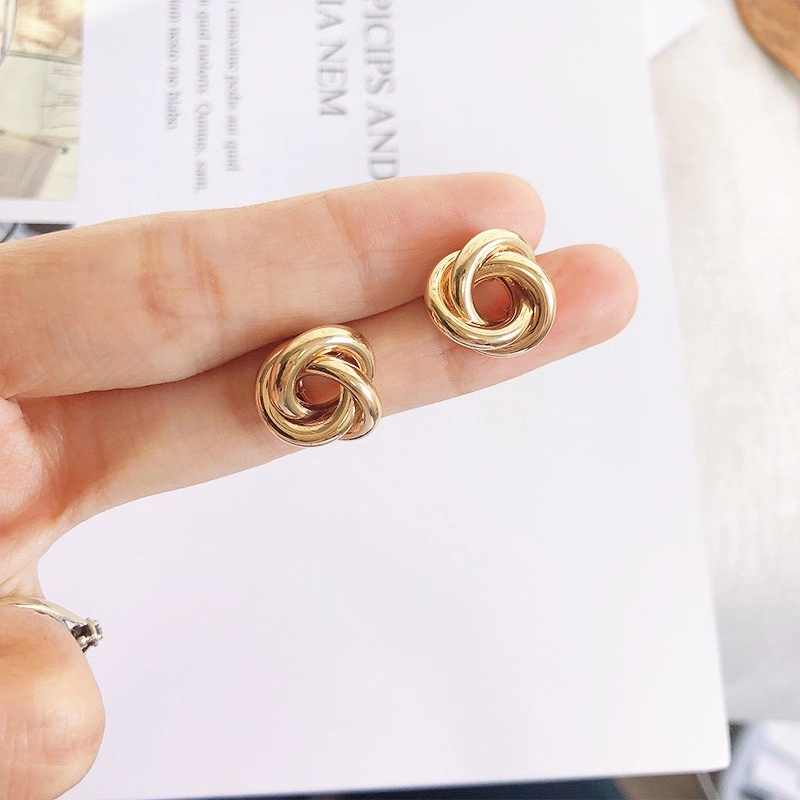 New Fashion Jewelry 2019 Geometric Knot Stud Earrings For Women Girl Gold Silver Color Korean Elegant Flower Earring EB347