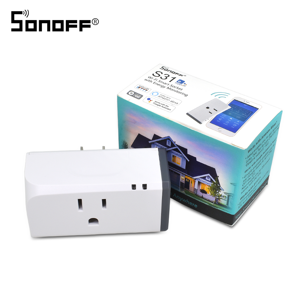 SONOFF S31 US Wireless WIFI Remote Control Switch Socket Timer Outlet Mini Plug Smart Home Energy Power Monitoring Google Alexa
