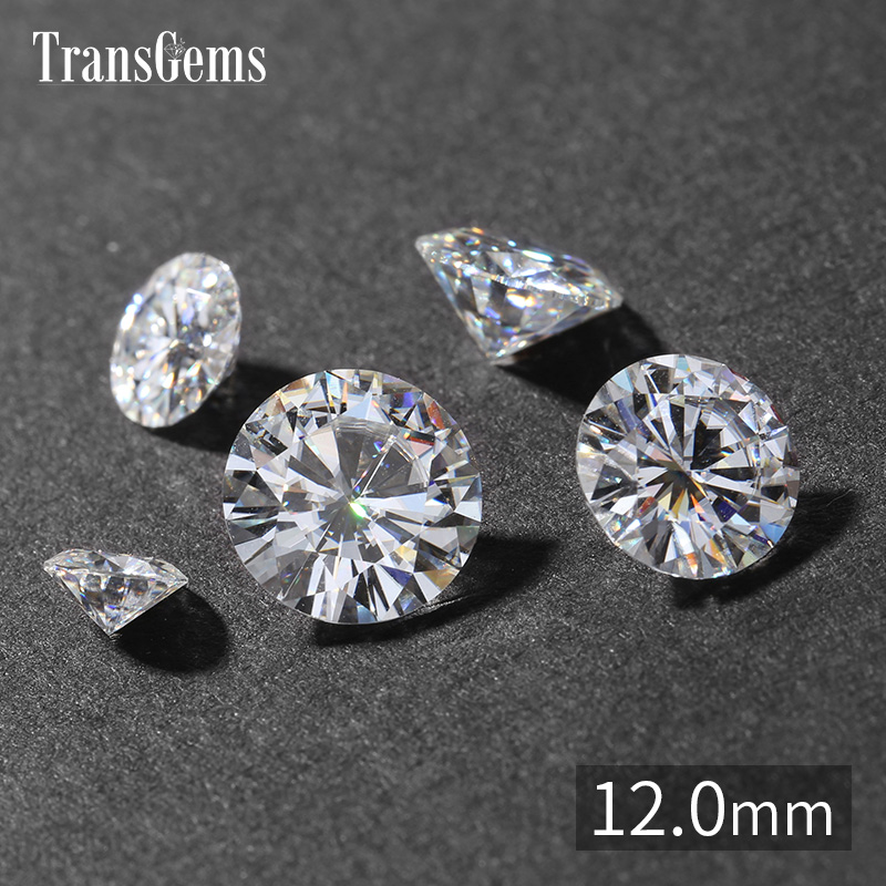 TransGems 12mm 6 Carat GH Color Certified Lab Grown Moissanite Diamond Loose Bead Test Positive As Real Diamond Gemstone genuine14k 585 white gold push back 1carat ctw test positive lab grown moissanite diamond earrings for women