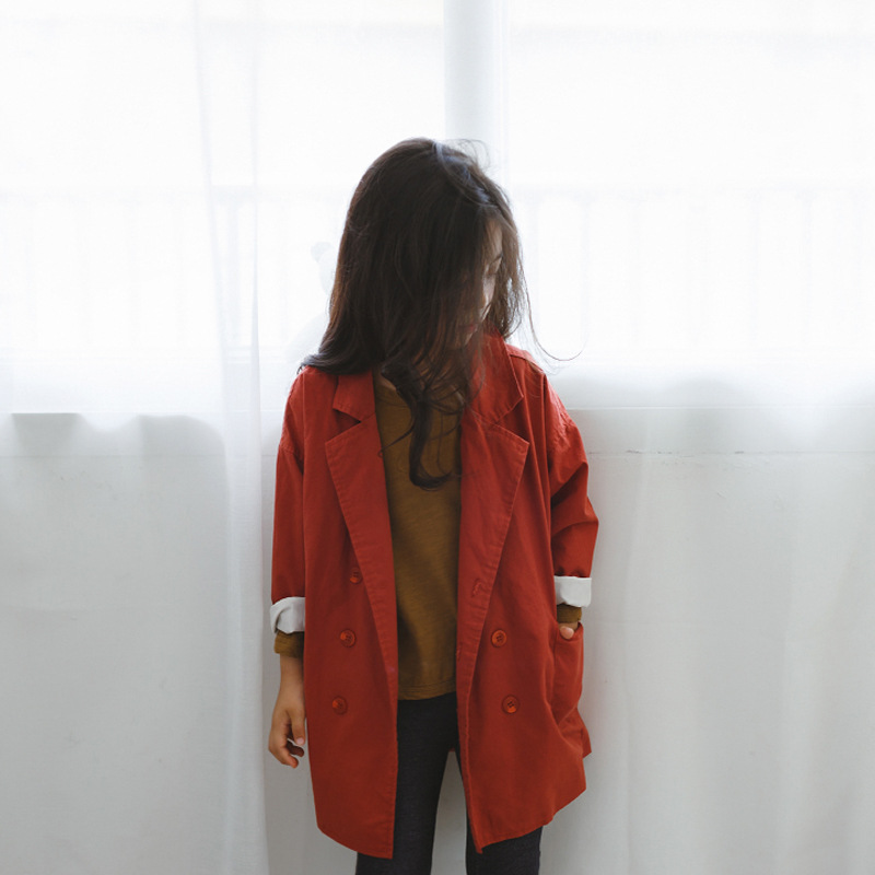 children girls jacket autumn 2017 trench coat little teenage girls kids trench outerwear long jacket for girl children clothing