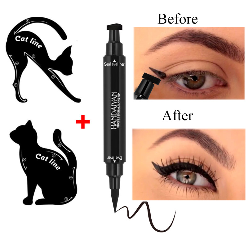 1 Pcs Dual-ended Liquid Eyeliner Pencil Waterproof Black Pencils Arrow Eye Liner Stamper Pen Cosmetic Makeup Stencils