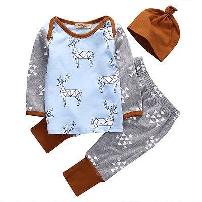 Новый 2016 комплект одежды для маленьких мальчиков с длинными рукавами с принтом оленя футболка + Штаны + шапка модная одежда для маленьких мальчиков для новорожденных Костюм из 3 предметов