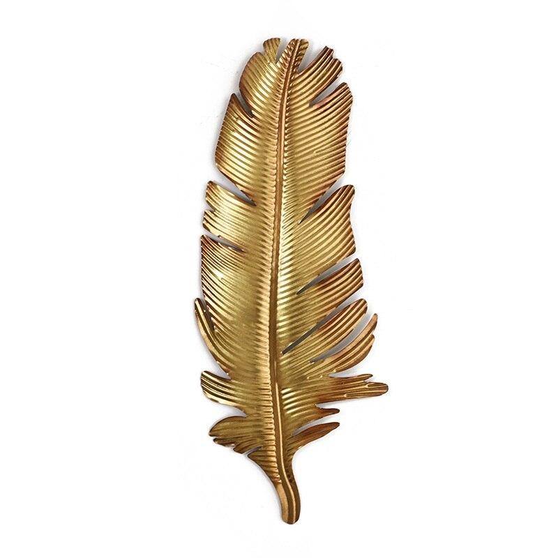 Or en fer forgé plume palmier feuille décoration murale en trois dimensions porche tenture murale décor à la maison salon R1343