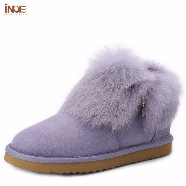 INOE 2016 new fashion cow split leather big girls rabbit fur winter short ankle snow boots for women winter shoes with zipper