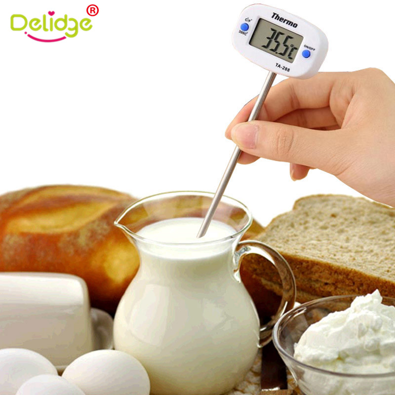1 Pc Digital Kitchen Food Baking Thermometer BBQ Meat Oven Milk Cooking Tester Rotatable Electronic Probe Thermometer