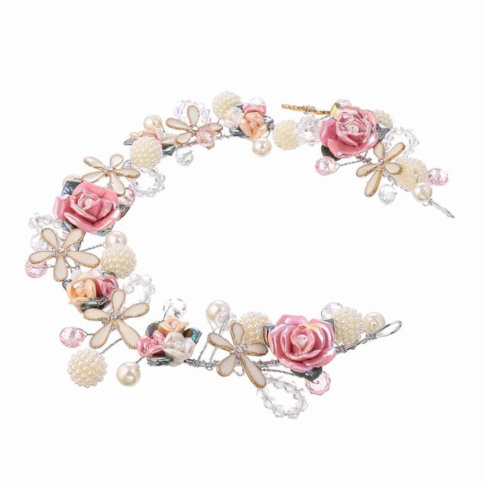 ใหม่เจ้าสาว Headbands ดอกไม้ Crowns Tiaras ผมเครื่องประดับเรซิ่น Pom Pom Ball Drop ต่างหูงานแต่งงาน Chain เครื่องประดับผมชุด