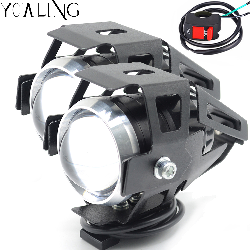 2Pcs/Lot LED Headlight Motorcycle Waterproof 3000LM Chip U5 Motor LED Driving Fog Spot Head Light Lamp With Switch