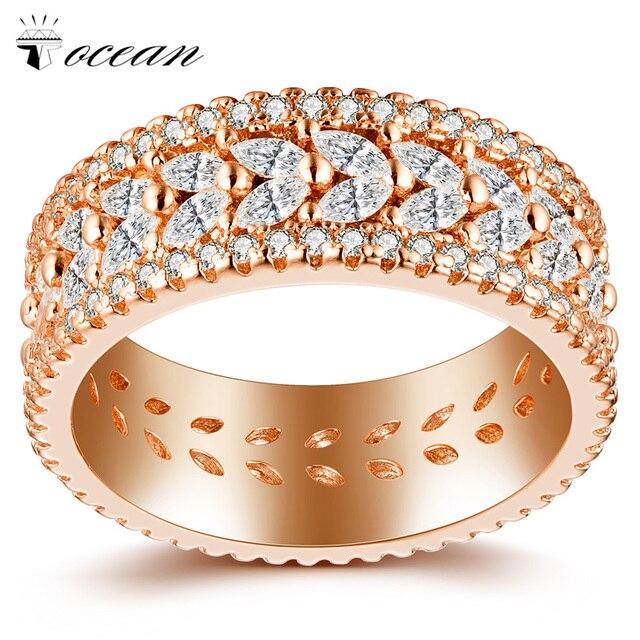Tocean Rose Gold Color Popular Leaf Cute Retro Wedding Rings for Women Romantic AAA Zircon Engagement Bijoux Bague Size 6-9 W055