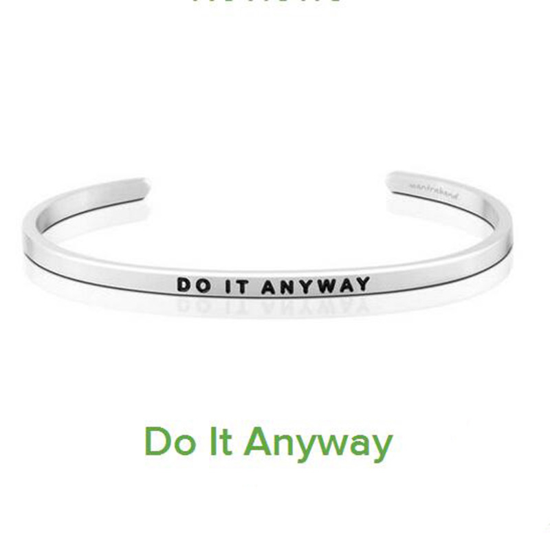 New Stainless Steel Engraved DO IT ANYWAY Inspirational Quote Hand Stamped Cuff Bracelet Bangle