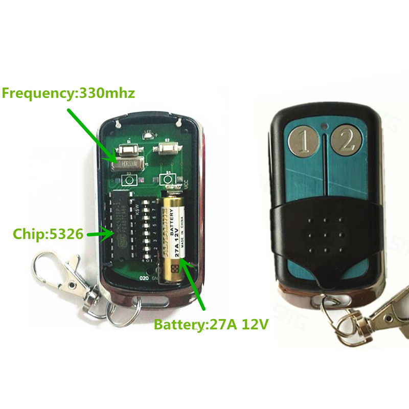 1pcs Singapore malaysia 5326 330mhz dip switch auto gate duplicator remote control key fob