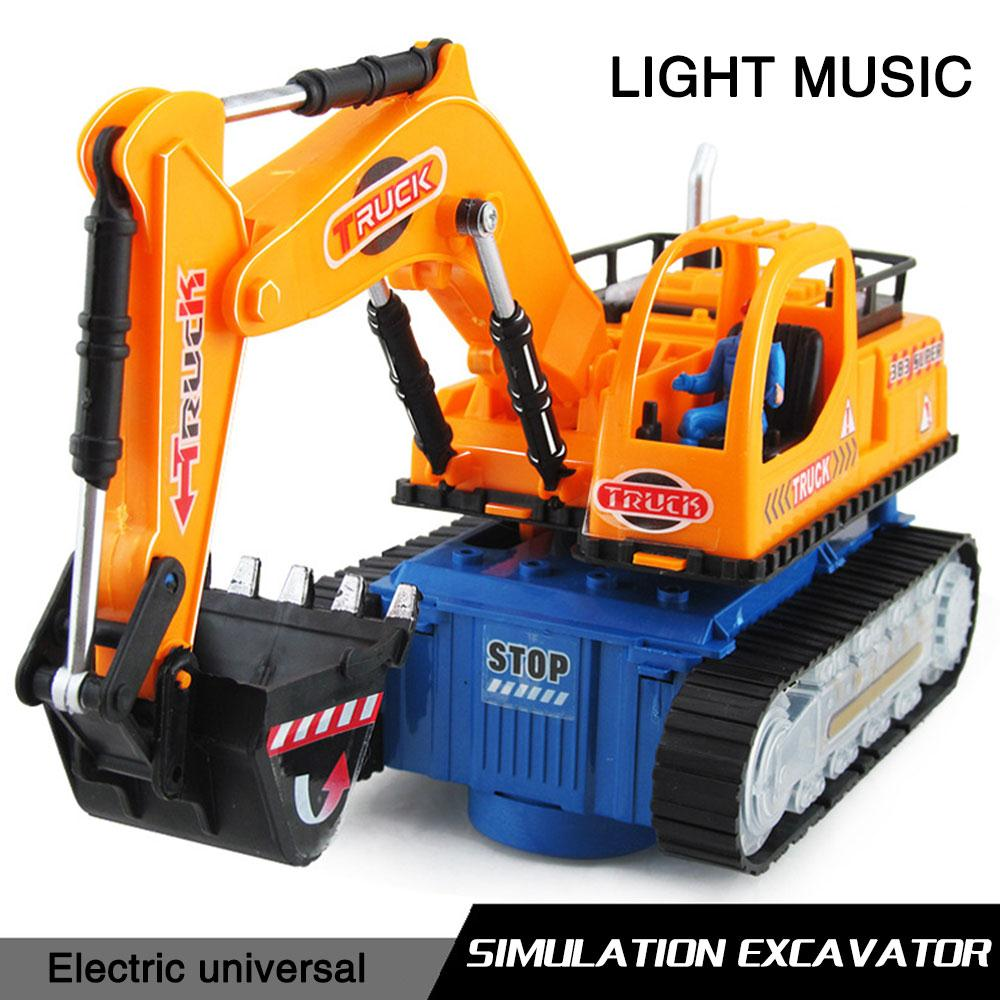 Kids Toys Engineering Excavator Car with Music Lights Universal Excavator Construction Vehicles Model Toys For Children Gifts