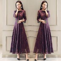 2019 New Spring Autumn Women Elegant Lace Up With Bow Mesh Dresses Female Plus Size 5XL O Neck Button Lace Vintage Vestidos H80