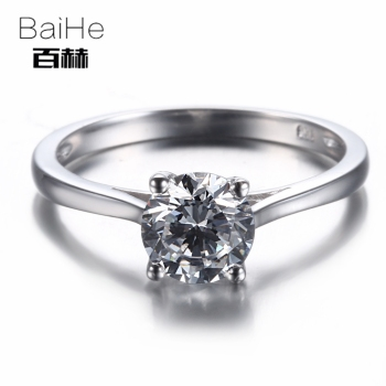 BAIHE Sterling Silver 925 1.68CT Certified Flawless Genuine AAA Graded Cubic Zirconia Engagement Women Trendy Fine Jewely Ring