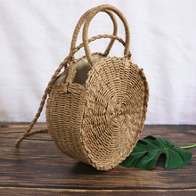 Round Straw Bag Handmade Rattan Woven Beach Bags Summer Crossbody Bags For Women Messenger Shoulder bag Circle Handbag Bali straw cotton rope beach bag summer crossbody bags for women 2019 handmade brand shoulder messenger shopping bag women bag