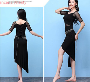 Image 4 - Short Sleeves Dress for Women Belly Indian Dance Cut out Suit Girls Lady Belly Sexy Perspective Dancewear Competition Practice