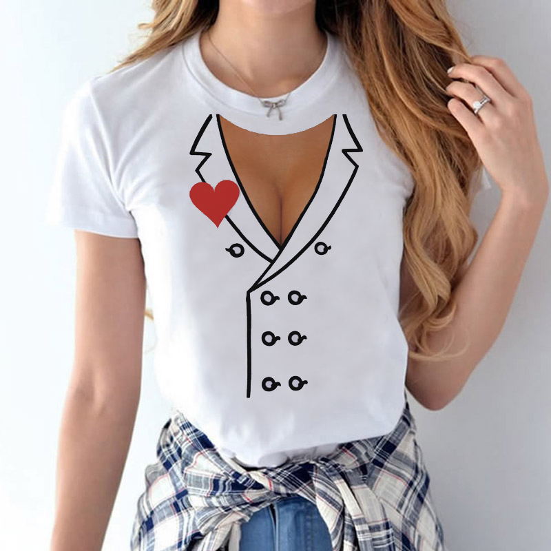 Latest trend Creative and funny Fake Tits Boob Design T-shirt Michelangelo Sistina T-shirt Harajuku  T-Shirt Women T-shirt fashion nova bathing suits