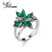 Jewelrypalace mujeres nano ruso gema esmeralda anillo set real pure 925 plata esterlina sólida 2016 nuevo regalo de moda al por mayor