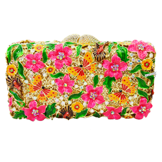 New! designer bright-colored clutch bags flower butterfly evening bags Women crystal prom party purse studded bags SC210