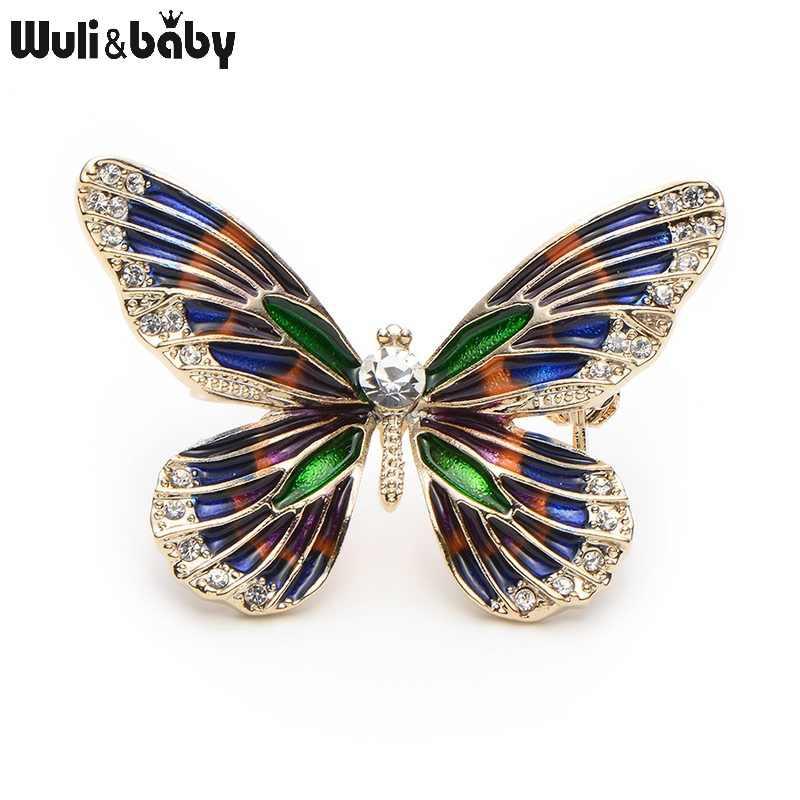 Wuli Bayi Paduan Berlian Imitasi Enamel Kupu-kupu Bros Wanita Pria Logam Serangga Hat Syal Brocade Hadiah