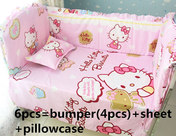 Promotion! 6pcs Cartoon Baby Bedding Sets Children Crib Bedding Set,include (bumpers+sheet+pillow cover) promotion 6pcs bear baby crib bedding set crib sets 100
